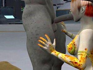 3D-Tegnefilm Fremmede Vixen å Få en Dobbel Sammen. Appetittvekkende 3D-tegnefilm fremmede vixen fullt nyter å få en dampende dobbeltrom teaming